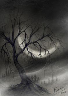 Tree in Charcoal, Beautiful Landscape Drawings for Inspiration, http://hative.com/landscape-drawings/,