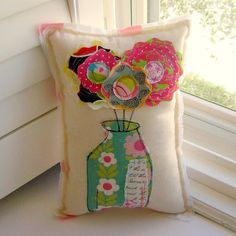 Flower Pillow Soft Sculpture Appliqued Pillow by tracyBdesigns