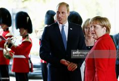 Prince William, Duke of Cambridge and German Chancellor Angela Merkel arrive for the 70th anniversary of North Rhine-Westphalia on August 23, 2016 in Duesseldorf, Germany. North Rhine-Westfalia was founded by the British military administration 70 years ago today.  (Photo by Andreas Rentz/Getty Images)