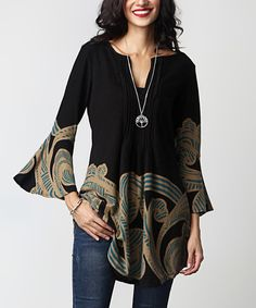 Look what I found on #zulily! Black Cloud Notch Neck Bell-Sleeve Tunic #zulilyfinds