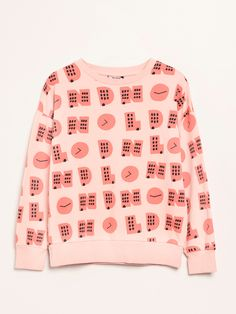 Coral sweatshirt with round neck and long sleeves, with ribbing on neckline, cuffs and band. Garment dye and all-over London print. SS18 • Barn of Monkeys #barnofmonkeys #kidswear #springsummer18 #fashionforkids #demandtheimpossible
