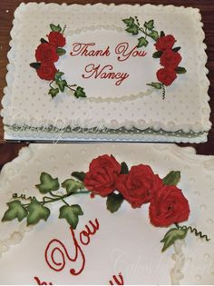 Swiss Dot & Roses - 12x18 white cake covered in BC.  Roses, leaves & ivy are gumpaste.