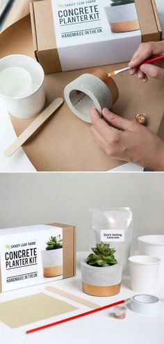 With this kit I can cast my own personalized concrete planter, with a luxe copper painted design. The kit contains the biodegradable pot molds, concrete mix, st Concrete Crafts, Concrete Projects, Concrete Planters, Diy Projects, Recycled Planters, Cement Garden, Garden Planters, Beton Design, Concrete Design