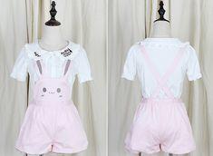 Japanese kawaii rabbit straps shorts/skirt - Thumbnail 2