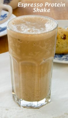 Espresso Protein Shake by Cook Eat Paleo.   It's creamy and thick like a frozen espresso drink from the coffee shop — but high-protein, dairy-free, soy-free and refined sugar-free. Click for recipe.