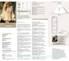 Irish lace, crochet, crochet patterns, clothing and decorations for the house, crocheted. Hand Knitting, Knitting Patterns, Crochet Patterns, Knitted Poncho, Knitted Shawls, Irish Crochet, Knit Crochet, Poncho With Sleeves, Serger Sewing