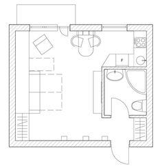 einzimmerwohnung plan-gestaltung kleine wohnung-mit mini-küche
