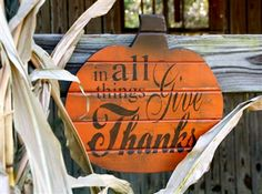 Give Thanks Pumpkin Sign.