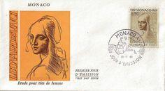 ENVELOPPE 1er JOUR 1969 / ETUDE POUR TETE DE FEMME LEONARD DE VINCI / MONACO - Enveloppes 1er jour/Enveloppes étrangères - Philatema