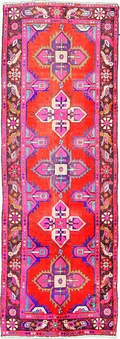 3' 3 x 9' 3 Red Hamedan Area Rug