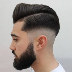 Pompadour With Mid Skin Fade 25 Best Mid Fade Haircut Ideas mens style Fade Haircut With Beard, Medium Fade Haircut, Pompadour Fade Haircut, Beard Haircut, Quiff Hairstyles, Cool Hairstyles For Men, Haircuts For Men, Barber Shop Haircuts, Classic Hairstyles