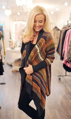 Cozy Printed Open Sweater - Dottie Couture Boutique