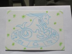 """""""Capricorn"""" -- zodiac/astrology themed card by Beautifulsoul, Ongoing ATC Swap Sept 2013 @ craftster.org"""