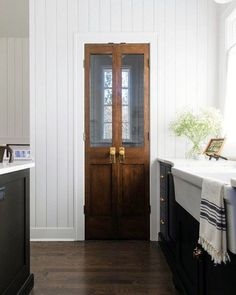 Painted Pantry Doors, Kitchen Pantry Doors, Sliding Pantry Doors, Closet Doors, Kitchen Reno, Kitchen Remodeling, Antique French Doors, Vintage Doors, Pantry Design