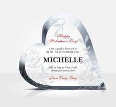 Brilliantly cut and hand polished to perfection, the crystal heart radiates with charm along the beveled edges. The crystal design makes a stunning love gift. Love Gifts, Gifts For Wife, Happy Valentines Day, Valentine Gifts, Award Plaques, Crystal Awards, Perfect Love, Crystal Design, Wedding Anniversary Gifts