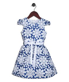 Look at this Joe-Ella Indigo & White Floral Cap-Sleeve Dress - Infant, Toddler & Girls on #zulily today!