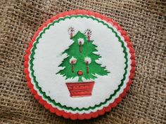 Vintage Christmas Tree Coasters, Lot of 12, Paper Style Coasters, Red and Green and Cute
