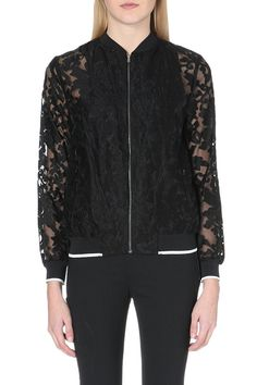 Floral-Embroidered Sheer Bomber Jacket, £365 | Clover Canyon