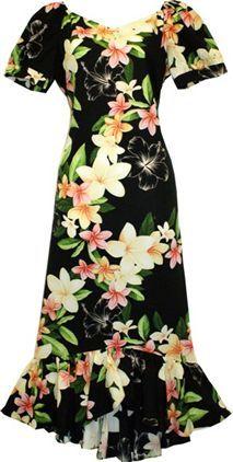 TP 917R [Nadina/Black] Mid-length Dress - Middle Dresses - Hawaiian Dresses   AlohaOutlet SelectShop