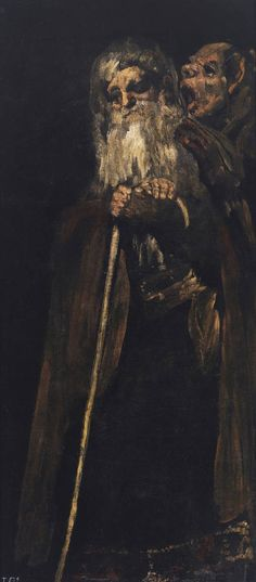 Francisco Goya, Two Old Men from the Black Paintings series Museo del Prado, Madrid Dark Paintings, Classic Paintings, Spanish Painters, Spanish Artists, Art Espagnole, Dark Art, Great Artists, Painting & Drawing, Black Painting