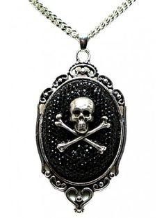 Women's Sparkly Skull Cameo Necklace