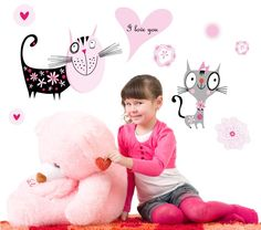 smartwalling, wall decals - Funky Kitty Wall Decals - Totally Movable, $7.95 (http://www.wholesaleprinters.com.au/funky-kitty-wall-decals-totally-movable)