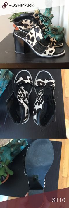 Senso Reilly heels in calf print adorable sandals for summer. pony print goes perfect with black dresses and jeans. a great way to jazz up an outfit. From Senso in Australia. 3.5 inch heel. almost no wear. SENSO Shoes Sandals