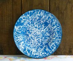 "Vintage Cobalt Blue Swirl Graniteware, Enamelware Plate/Bowl 8"" by TwoCousinsCollection on Etsy"