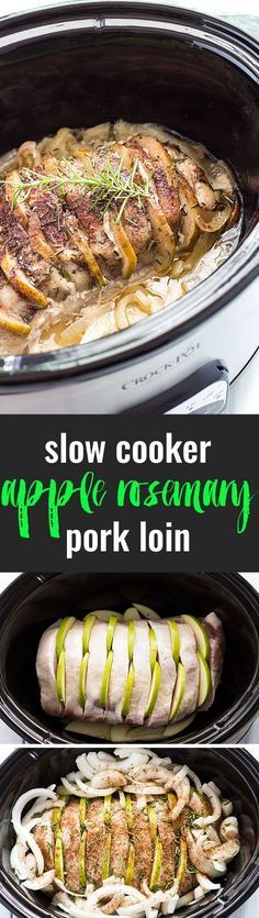Slow Cooker Apple Rosemary Pork Loin - So savory with sweet apple and robust rosemary flavors