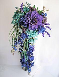 Reserved for Jess Aqua Bridal Bouquet Ocean Wedding Flowers Beach Water Bouquet Holder, Bouquet Toss, Floral Wedding, Wedding Flowers, Green Wedding, Bridesmaid Bouquet, Wedding Bouquets, Cascade Bouquet, Flower Backdrop
