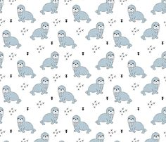 Adorable winter blue sea lion illustration geometric arrows scandinavian style - surface design by Little Smilemakers Studio on Spoonflower - custom fabric and wallpaper inspiration for kids clothes fun fashion and trendy home decorations.