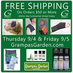 Free Shipping on orders of $50 or more. Thursday 9/4 and Friday 9/5 at http://GrampasGarden.com/   #sale #freeship #thursday #friday