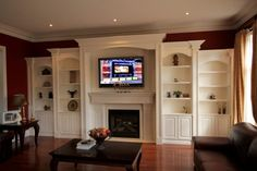 Wall Unit : Built In Wall Units Around Fireplace Design Build In Wall TV Entertainment Units Custom Bookcases TV Great Room Bookshelves Best Built In Wall Units Design ~ LukeJohnsonPhoto Diy Built In Shelves, Built In Wall Units, Shelves Around Tv, Built In Bookcase, Bookcases, Bookcase Tv Stand, Bookcase Wall Unit, Wall Shelves, Wall Units With Fireplace