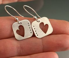 Hearts in Silver Earrings cut out Hearts with by JenLawlerDesigns, $60.00