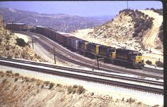 ATSF Santa Fe at Cajon Pass Summit, California- Original Locomotive Slide 1972