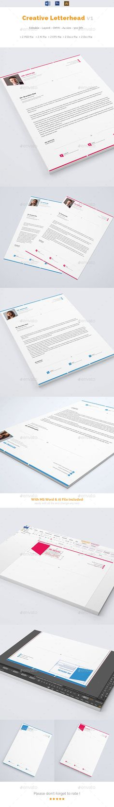 Buy Creative Letterhead by Kitket on GraphicRiver. This layout is suitable for any project purpose. Very easy to use and customize. Safety Pictures, Letterhead Template, Printed Materials, Different Styles, Resume, Layout, Templates, Lettering, Creative