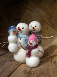 Snowman Family - Needle Felted
