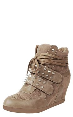 4127a972deb3 Shop Make Me Chic Bigbang Spike Strap Wedge Sneakers online. SHEIN offers  Make Me Chic Bigbang Spike Strap Wedge Sneakers   more to fit your  fashionable ...