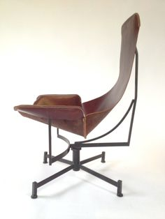 Iron and Leather Sling Lounge Chair