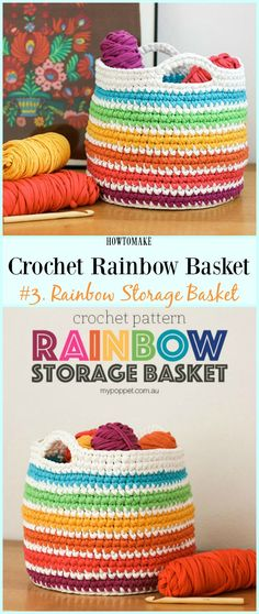 T-shirt Yarn Rainbow Basket Free Crochet Pattern - #Crochet Rainbow #Basket Free Patterns
