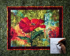 unique borders for quilts | ShowcaseDesignElements.com Wispy Poppy quilting design