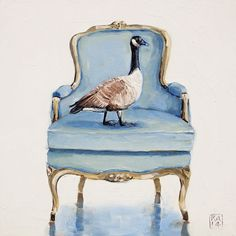 """Daily oil Painting French county chair, Canadian Goose Geese, Kimberly Applegate ... """"true north"""""""