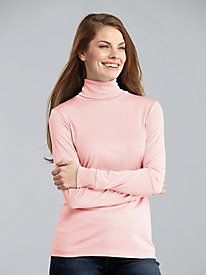Long Sleeve Rib Cuff Turtleneck in Mid-weight Washable Silk