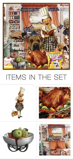 """créé par Myriam :I feel that this turkey will be quickly swallowed ............... BY ME OUTSIDE COOKING CHEF"" by lovemeforthelife ❤ liked on Polyvore featuring art and loveme"