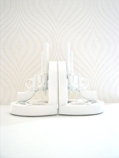 Set of 2 Gun Book Ends in white by mahzerandvee on Etsy, $29.00