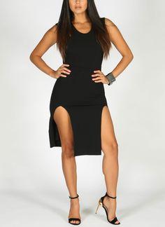 Black Open Front Dress