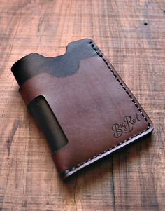 Big Red Beard Comb Leather Minimalist Wallet Black Sunset