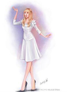 Mercedes Galán ilustra a Winona Ryder con su emblemático vestido blanco en su interpretación de Kim en Eduardo Manostijeras, de Tim Burton (1990)