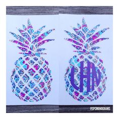 Lilly Pulitzer Inspired Pineapple Monogram Decal