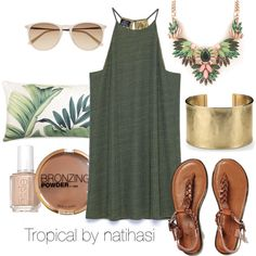 Tropical Outfit by natihasi on Polyvore featuring Mode, Zara, American Eagle Outfitters, Blue Nile, Witchery, H&M, Essie and Williams-Sonoma